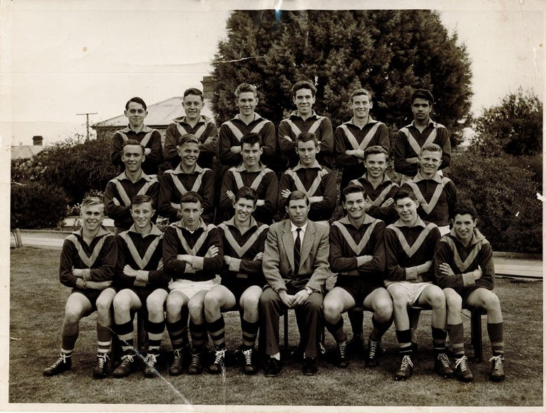 Neil Page (1st left, middle row) and Jock Duncan (2nd left, back row) were members of the same football team.