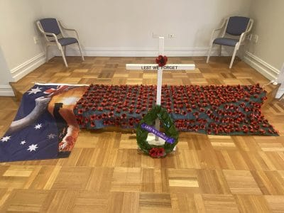 blanket of poppies made by Jo-anne Roy-Phelps