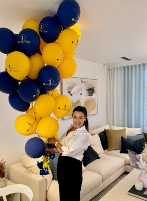 Angie with balloons